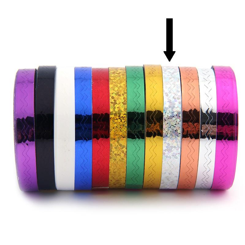 Striping Tape Glitter Zilver (Golfjes)