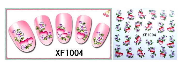 Water Transfer Sticker Hartjes Bloemen