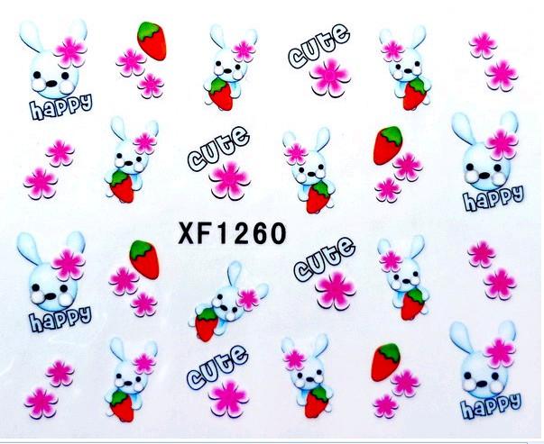 Water Transfer Sticker Konijntjes en bloempjes