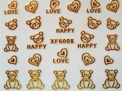 3D Nagelstickers Goud Love and Happy