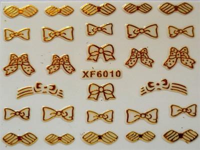 3D Nagelstickers Goud Strikjes