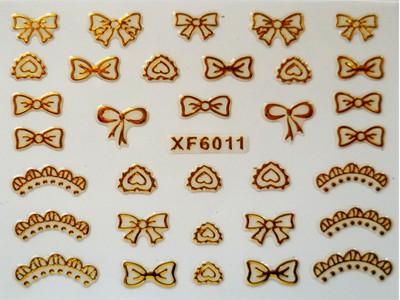 3D Nagelstickers Goud Strikken en Kronen