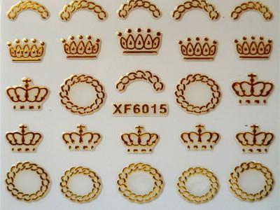 3D Nagelstickers Goud Kronen en Kransen