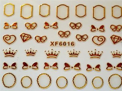 3D Nagelstickers Goud Diamant